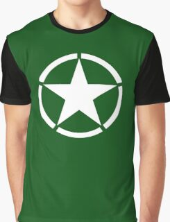 AMERICAN, ARMY, STAR, Star & Circle, Jeep, WWII, America, American, Americana,  USA, White, on Army Green Graphic T-Shirt