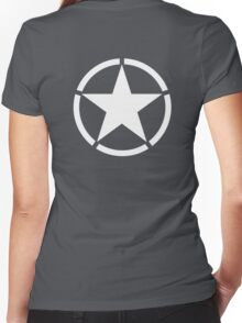 AMERICAN, ARMY, STAR, Star & Circle, Jeep, WWII, America, American, Americana,  USA, White, on Army Green Women's Fitted V-Neck T-Shirt