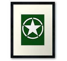 AMERICAN, ARMY, STAR, Star & Circle, Jeep, WWII, America, American, Americana,  USA, White, on Army Green Framed Print