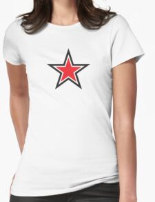 RED STAR with outline Command Womens Fitted T-Shirt