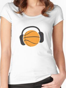 Basketball with musical headphones Women's Fitted Scoop T-Shirt
