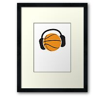 Basketball with musical headphones Framed Print