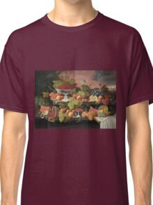 Severin Roesen - Two Tiered Still Life With Fruit And Sunset Landscape. Still life with fruits: strawberries , champagne,lemon, grapes , cherries, peaches, apples, pears, apricots, raspberries, vase Classic T-Shirt