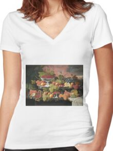 Severin Roesen - Two Tiered Still Life With Fruit And Sunset Landscape. Still life with fruits: strawberries , champagne,lemon, grapes , cherries, peaches, apples, pears, apricots, raspberries, vase Women's Fitted V-Neck T-Shirt