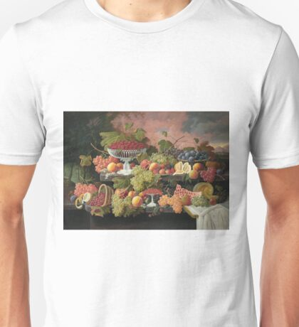 Severin Roesen - Two Tiered Still Life With Fruit And Sunset Landscape. Still life with fruits: strawberries , champagne,lemon, grapes , cherries, peaches, apples, pears, apricots, raspberries, vase Unisex T-Shirt