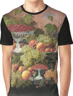 Severin Roesen - Two Tiered Still Life With Fruit And Sunset Landscape. Still life with fruits: strawberries , champagne,lemon, grapes , cherries, peaches, apples, pears, apricots, raspberries, vase Graphic T-Shirt