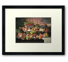 Severin Roesen - Two Tiered Still Life With Fruit And Sunset Landscape. Still life with fruits: strawberries , champagne,lemon, grapes , cherries, peaches, apples, pears, apricots, raspberries, vase Framed Print