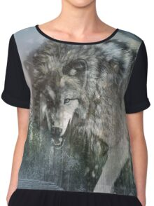 Wolf in the snow Chiffon Top