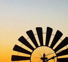 Windmill sunset  Sticker