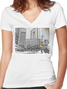 Sunny Day Cityscape Streetscape Women's Fitted V-Neck T-Shirt