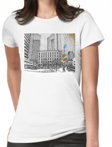 Sunny Day Cityscape Streetscape Womens Fitted T-Shirt