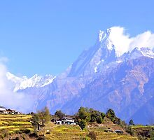 Nepal village on Annapurna Basecamp Trek by morariu