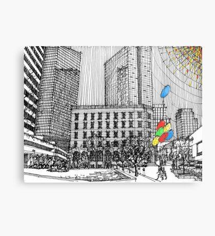 Sunny Day Cityscape Streetscape Metal Print