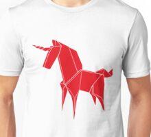 Origami Unicorn Red Unisex T-Shirt