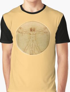LEONARDO, Da Vinci, The Vitruvian Man, CIRCLE, c.1485, Accademia, Venice, on BLACK Graphic T-Shirt