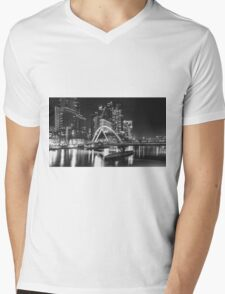 Pedestrian Bridge in BNW, Melbourne Mens V-Neck T-Shirt