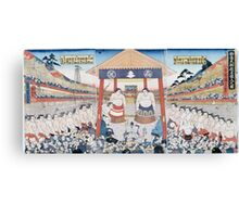Utagawa Yoshifuji - The Ring Entering Ceremony At Subscription Sumo 1851. People portrait:  people,  sumo,  traditional,  wrestler,  wrestling,  fat,  overweight,  rice,  sport,  body,  society Canvas Print