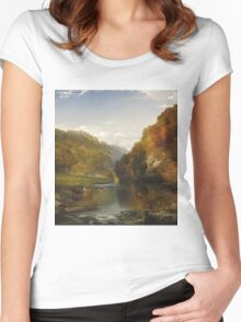 Thomas Moran - Autumn Afternoon, The Wissahickon. Forest view: forest , trees,  fauna, nature, birds, animals, flora, flowers, plants, field, weekend Women's Fitted Scoop T-Shirt