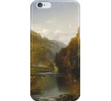 Thomas Moran - Autumn Afternoon, The Wissahickon. Forest view: forest , trees,  fauna, nature, birds, animals, flora, flowers, plants, field, weekend iPhone Case/Skin