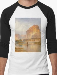 Thomas Moran - Cliffs Of Green River. Mountains landscape: mountains, rocks, rocky nature, sky and clouds, trees, peak, forest, Canyon, hill, travel, hillside Men's Baseball ¾ T-Shirt