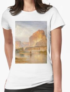 Thomas Moran - Cliffs Of Green River. Mountains landscape: mountains, rocks, rocky nature, sky and clouds, trees, peak, forest, Canyon, hill, travel, hillside Womens Fitted T-Shirt