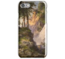 Thomas Moran - Falls At Toltec Gorge. Mountains landscape: mountains, rocks, rocky nature, sky and clouds, trees, peak, forest, Canyon, hill, travel, hillside iPhone Case/Skin