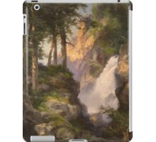 Thomas Moran - Falls At Toltec Gorge. Mountains landscape: mountains, rocks, rocky nature, sky and clouds, trees, peak, forest, Canyon, hill, travel, hillside iPad Case/Skin