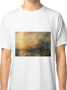 Thomas Moran - Fiercely The Red Sun Descending Burned His Way Along The Heavens. Sea landscape:  yachts view, holiday, sailing boat, coast seaside, waves beach, seascape, sun clouds, nautical, ocean Classic T-Shirt