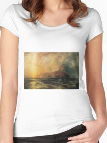 Thomas Moran - Fiercely The Red Sun Descending Burned His Way Along The Heavens. Sea landscape:  yachts view, holiday, sailing boat, coast seaside, waves beach, seascape, sun clouds, nautical, ocean Women's Fitted Scoop T-Shirt