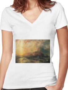 Thomas Moran - Fiercely The Red Sun Descending Burned His Way Along The Heavens. Sea landscape:  yachts view, holiday, sailing boat, coast seaside, waves beach, seascape, sun clouds, nautical, ocean Women's Fitted V-Neck T-Shirt