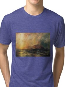 Thomas Moran - Fiercely The Red Sun Descending Burned His Way Along The Heavens. Sea landscape:  yachts view, holiday, sailing boat, coast seaside, waves beach, seascape, sun clouds, nautical, ocean Tri-blend T-Shirt
