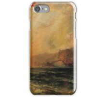 Thomas Moran - Fiercely The Red Sun Descending Burned His Way Along The Heavens. Sea landscape:  yachts view, holiday, sailing boat, coast seaside, waves beach, seascape, sun clouds, nautical, ocean iPhone Case/Skin