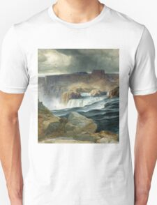 Thomas Moran - Shoshone Falls, Snake River, Idaho. Mountains landscape: mountains, rocks, rocky nature, sky and clouds, trees, peak, forest, rustic, hill, travel, hillside Unisex T-Shirt
