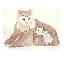 Watercolor Owlbear with young Photographic Print