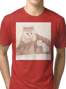 Watercolor Owlbear with young Tri-blend T-Shirt