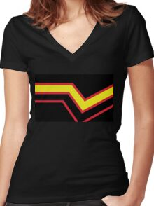 Black Red Yellow Stripe Rubber Latex Pride Flag Women's Fitted V-Neck T-Shirt