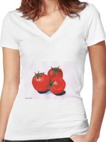 Cherry Tomatoes Women's Fitted V-Neck T-Shirt