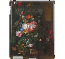 Rachel Ruysch - Roses, Convolvulus, Poppies, And Other Flowers In An Urn On A Stone Ledge. Still life with flowers:  bouquet, bumblebee , carnations, peonies, tulips,  marigolds,  garden, blossom iPad Case/Skin