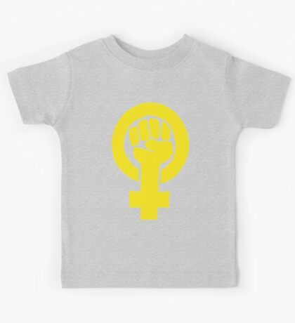 Yellow Feminist Fist Kids Tee