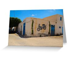 Djerba Street Art hanging scooter Greeting Card