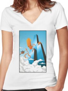 SquidZilla Women's Fitted V-Neck T-Shirt