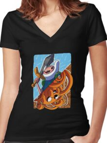 Adventure Time Jack and Finn Women's Fitted V-Neck T-Shirt