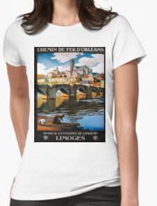 Limoges, French Travel Poster Womens Fitted T-Shirt
