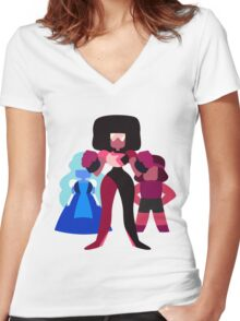 Minimalist Garnet Fusion Vector Women's Fitted V-Neck T-Shirt