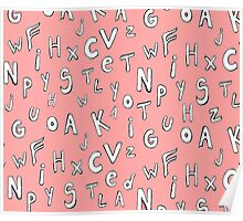 pink alphabet letters Poster