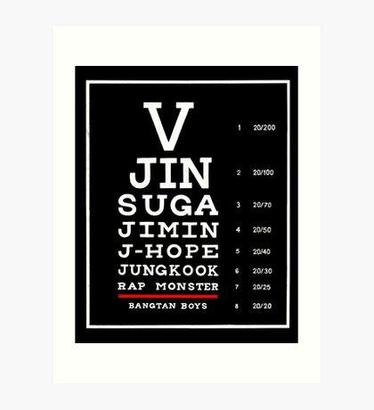 BTS Eye Chart - White Art Print