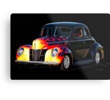 1940 Ford Deluxe Coupe with Flames Metal Print