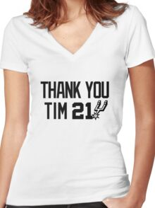 Thank You Tim Duncan Women's Fitted V-Neck T-Shirt