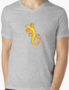 Gecko gelb rot Mens V-Neck T-Shirt