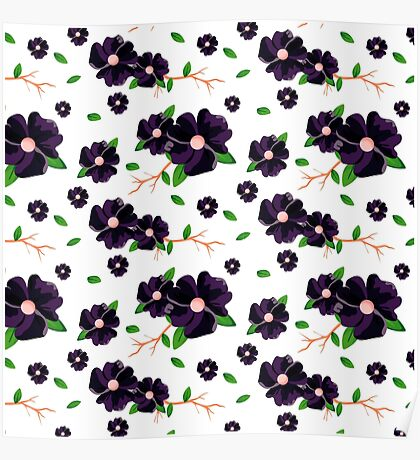Coloured floral pattern Poster